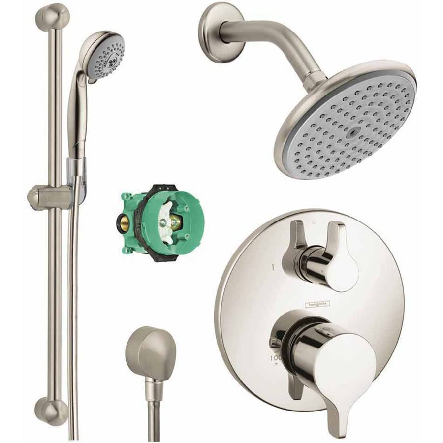 Hansgrohe KSH04448-27466-94PC Raindance Shower Faucet Kit with Handshower Wallbar PBV Trim with Diverter and Rough-In, Various Colors