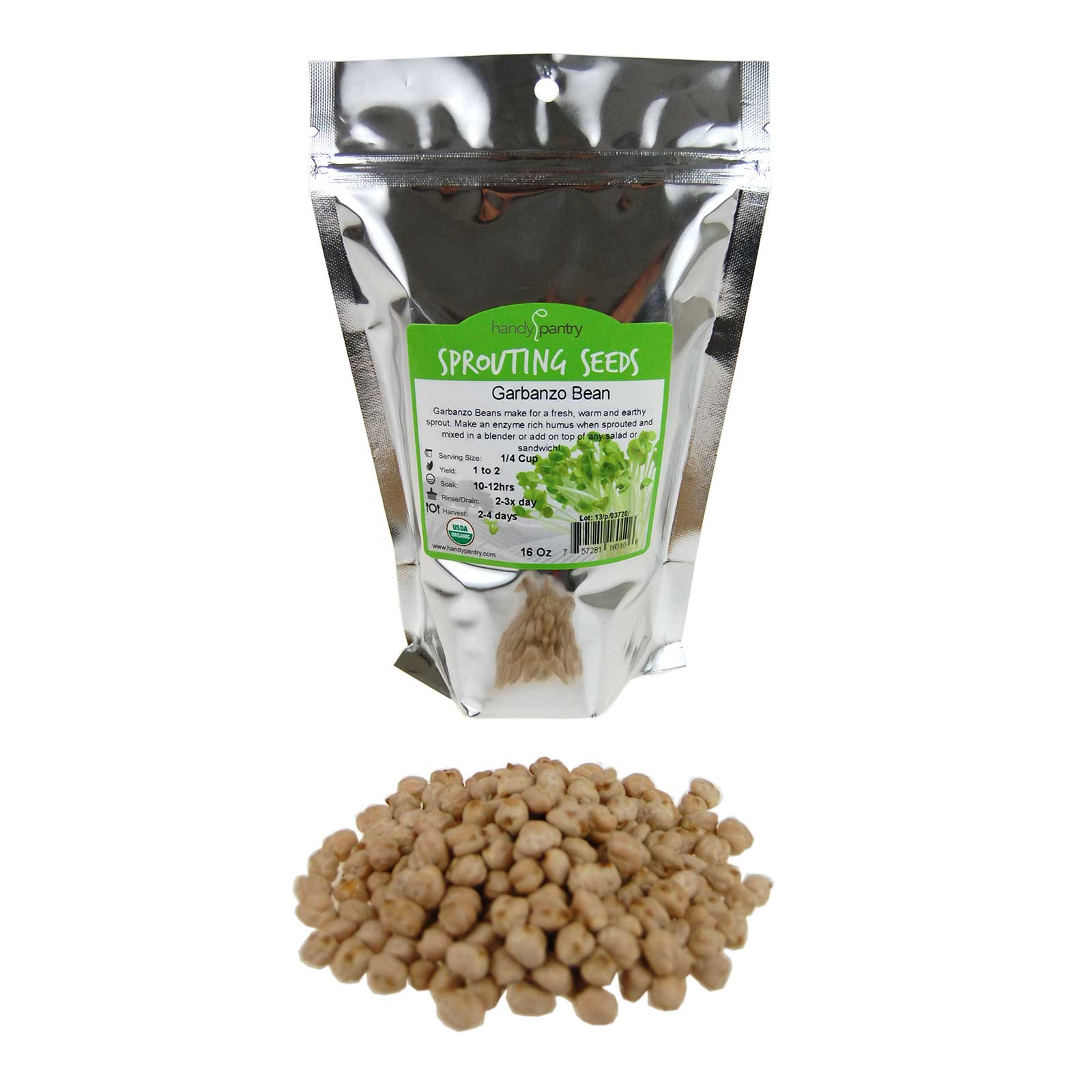 Dried Garbanzo Beans- Organic Sprouting Seeds 1 Lbs Handy Pantry Brand Dry Garbonzo Bean   Seeds For Planting, Gardening, Hummus, Cooking,... by Handy Pantry