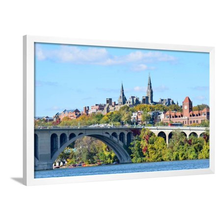Georgetown Ken - Washington Dc, a View from Georgetown and Key Bridge in Autumn Framed Print Wall Art By Orhan
