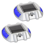 NEW  Solar Power LED Road Stud Driveway Pathway Stair Deck Dock Lights (2 Pack)