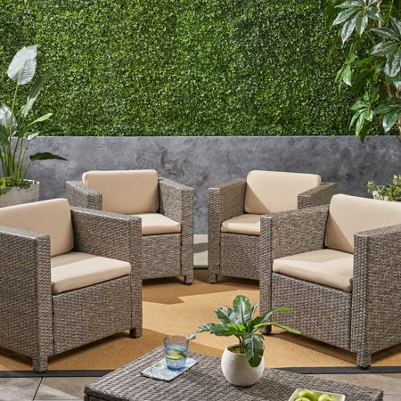 Cascada Outdoor Deep Seating Fabric Patio Cushions for Club Chairs, Set of 4, Beige