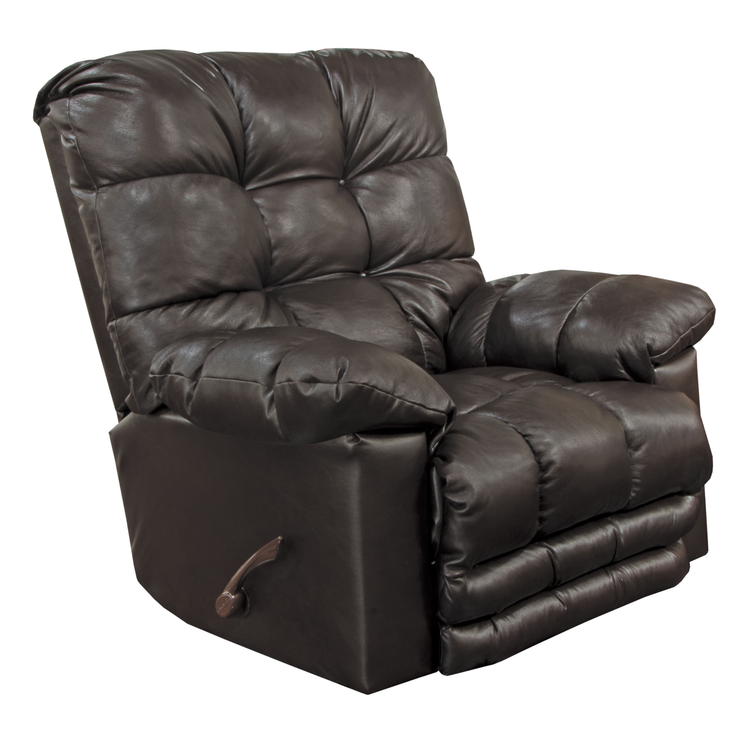 Catnapper Piazza Top Grain Leather Touch Rocker Recliner with X-tra Comfort Footrest in Chocolate