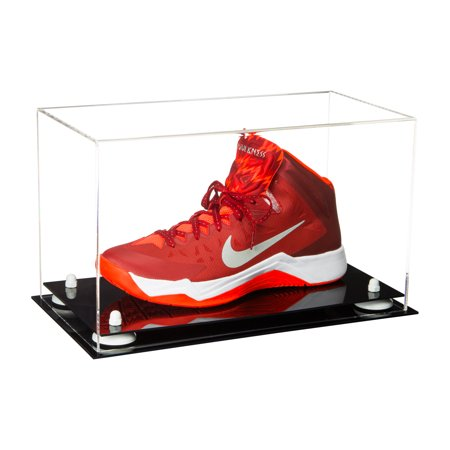 Deluxe Clear Acrylic Large Shoe Display Case for Basketball Shoes Soccer Cleats Football Cleats with White Risers (A013-WR)