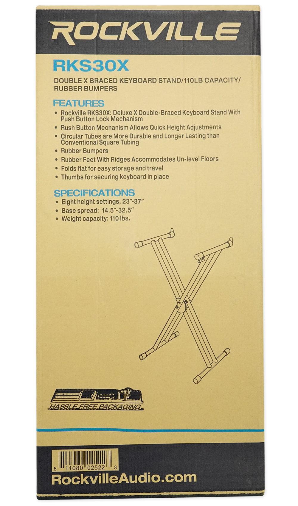 Rockville Double X Braced Keyboard Stand w//Push Button Lock For Casio WK-6600