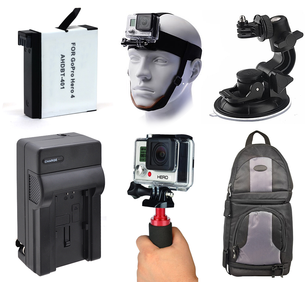 Windshield Car Mount + Backpack + Charger + Battery for GoPro HERO4 Hero 4