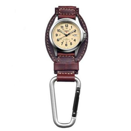 Personalized Clip Watch - Classic Genuine Brown Leather Clip Watch