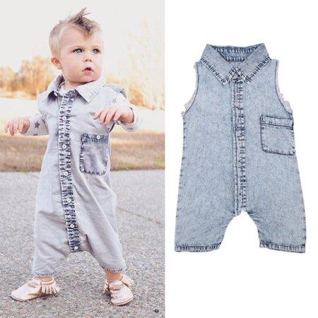 903ec4ac1 Honganda - Fashion jeans summer kids suit baby boy jumpsuit tank top  BARBOTEUSE - Walmart.com
