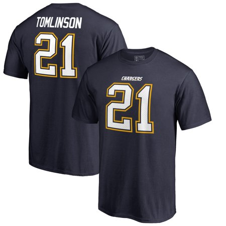 LaDainian Tomlinson Los Angeles Chargers Pro Line by Fanatics Branded Authentic Stack Retired Player Player Name & Number T-Shirt -
