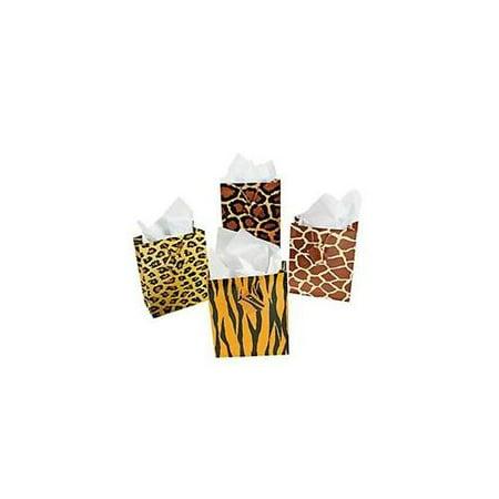 Set of 12 Animal Print Safari Medium Gift Bags Birthday Party Favors - Safari Themed Favors