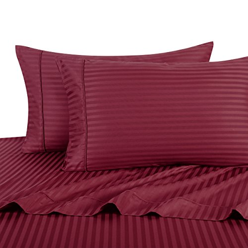 Sheetsnthings 100% Cotton, Bed Sheet Set - 600TC, Twin Extra Long (TXL) Burgundy Stripes - Soft, Deep Pocket, 3PC Sheets