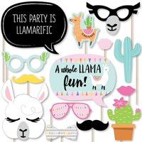 Whole Llama Fun - Llama Fiesta Baby Shower or Birthday Party Photo Booth Props Kit - 20 Count