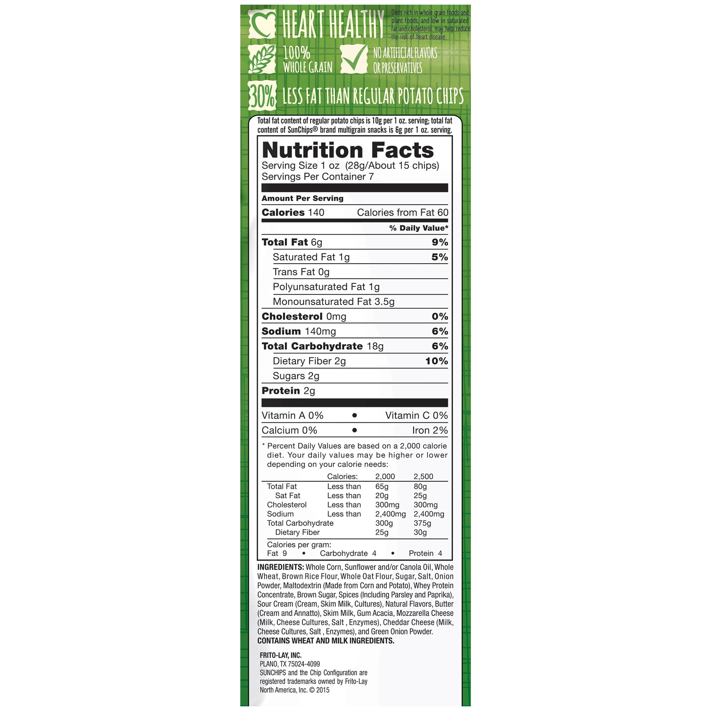 Sun Chips 100 Whole Grain French Onion Flavored Multigrain Snacks