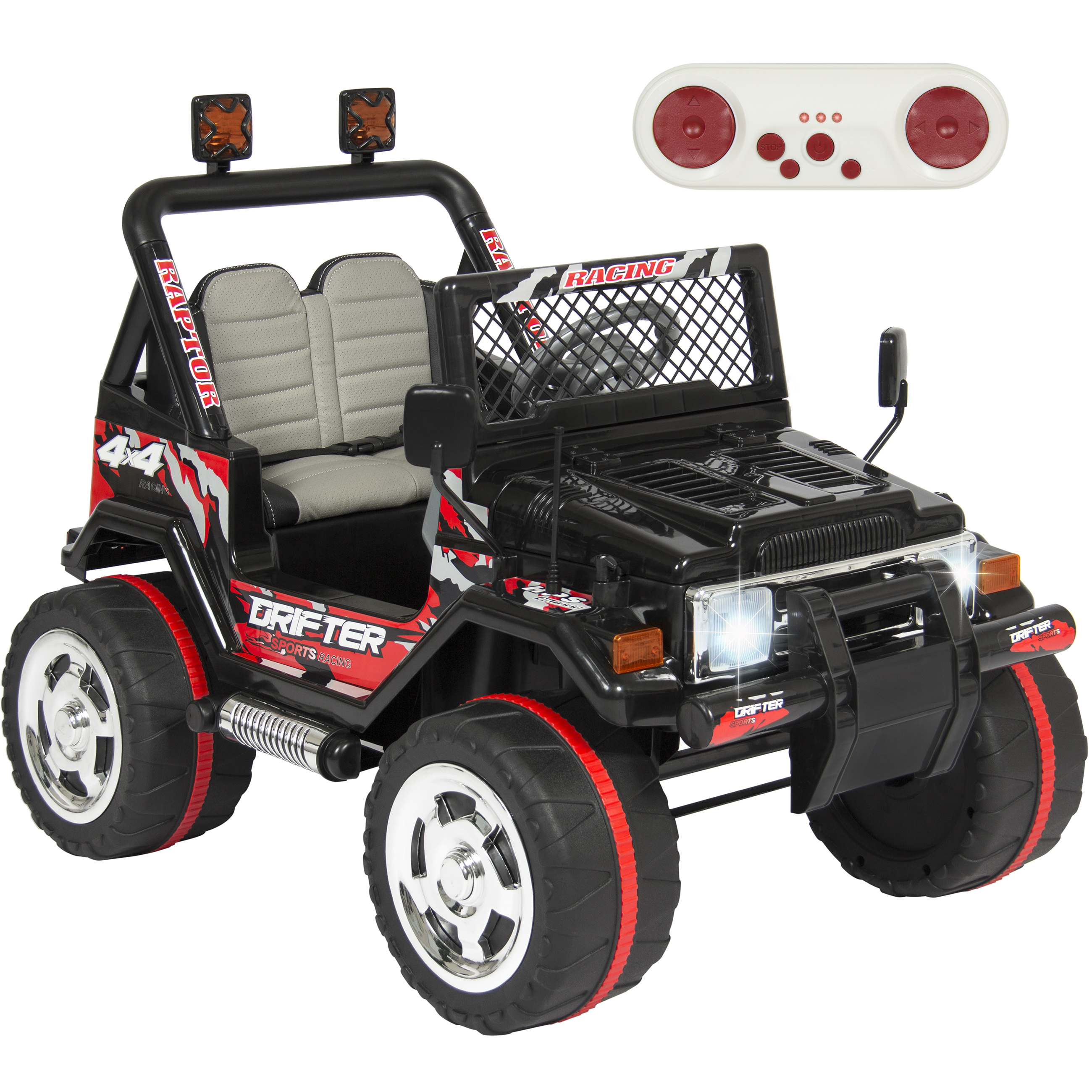 Jeep Wrangler Style 12V Ride On Car w/ Remote Control, Leather Seat, UV Lights, 2 Speeds- black