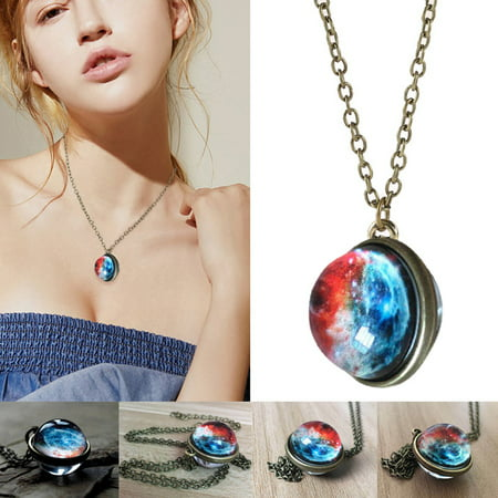 Double-sided Glass Ball Pendant Gem Universe Star Chain Necklace Jewelry Gifts Glass Multi Stone Pendant