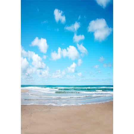 HelloDecor Polyster 5x7ft Photography Backdrop Seaside Theme Blue Sky and Ocean Sand Beach Scene for Photo Background Studio Props (Beach Themed Photo Props)