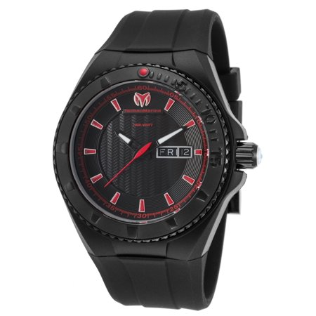 Technomarine Tm-115167 Men's Cruise Night Vision Black Silicone And Dial Red Accents Watch