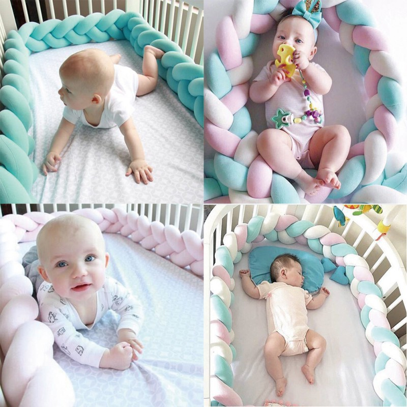ENJOY 1M/2M Hand Woven Braided Protector Nursery Crib Bumper Knot Pillow Bed Rails Cushion Protector for Baby