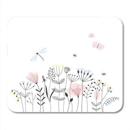 JSDART Colorful Butterfly Summer Flower Field Doodle Dragonfly Scandinavian Mousepad Mouse Pad Mouse Mat 9x10 inch - image 1 of 1