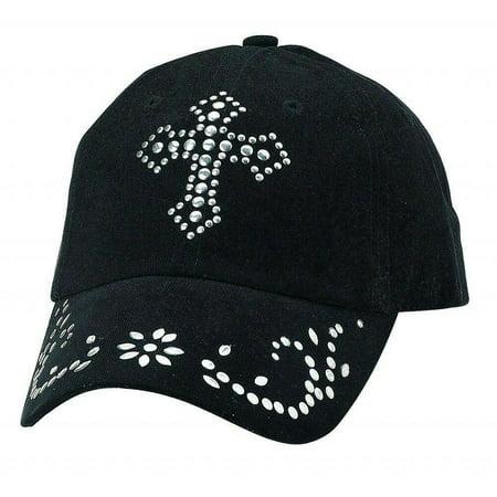 - Blazin Roxx Womens Black and Silver Nailhead Stud Cross Cap