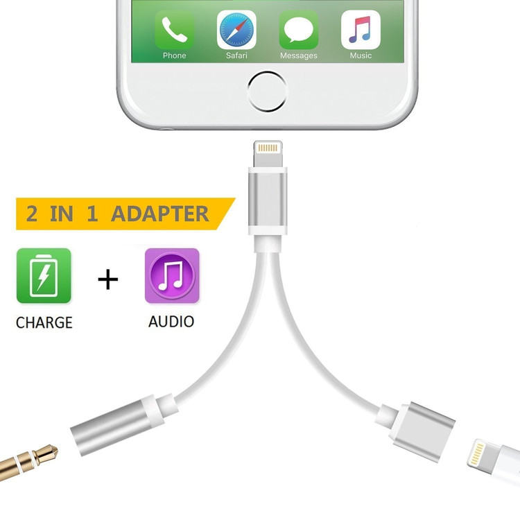 2 in 1 Lightning to 3.5 mm Headphone Jack Adapter and Extend Female Lightning Charging Port Converter Cable for iPhone 7 / 7 Plus, Support iOS 11.3 (Silver)