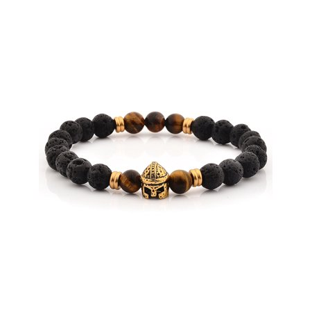 Lava and Tiger's Eye Stone Stainless Steel Spartan Helmet - Spartan Jewelry