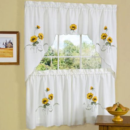 Sunflower Swag - bed bath n more Traditional Two-piece Tailored Tier and Swag Window Curtains Set with Embroidered Yellow Sunflowers - 36 inch
