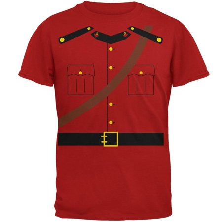 Halloween Canadian Mountie Police Costume Mens Soft T Shirt - Canada Halloween