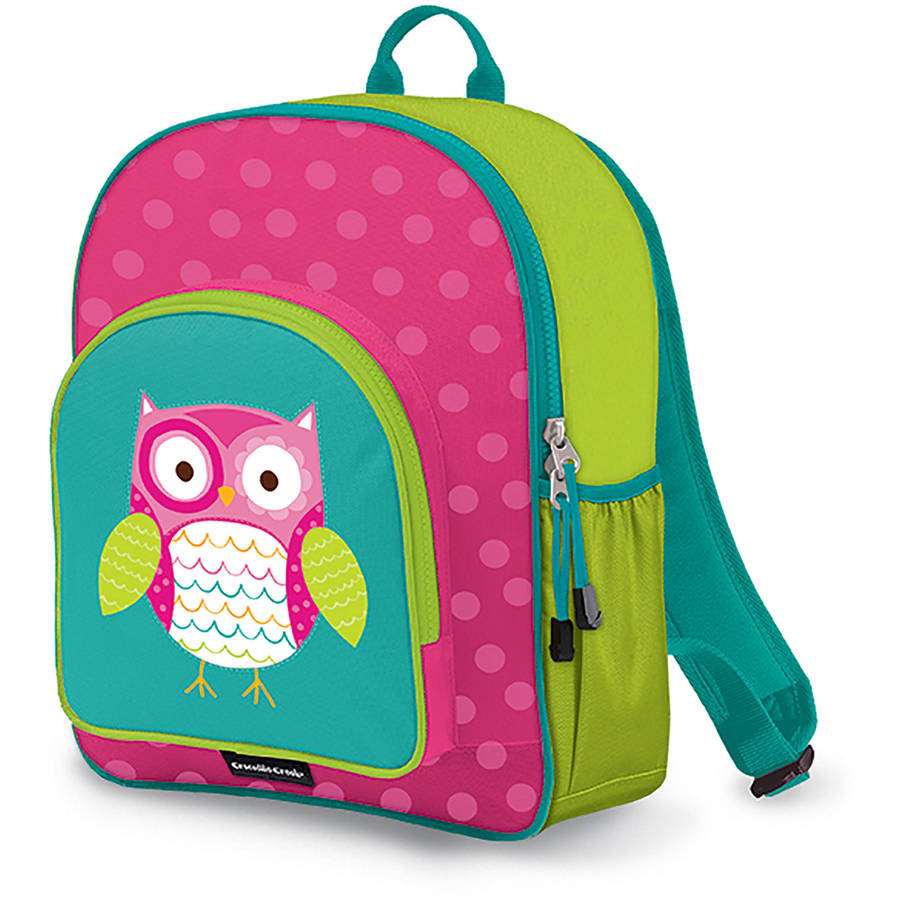 "Crocodile Creek Eco Kids Owl Girls School Backpack, 14"", Pink/Turquoise"