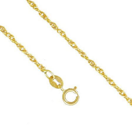 10K Yellow Gold Men Women's 1.5MM Singapore Necklace Spring Clasp, 16-24 Inches (22)