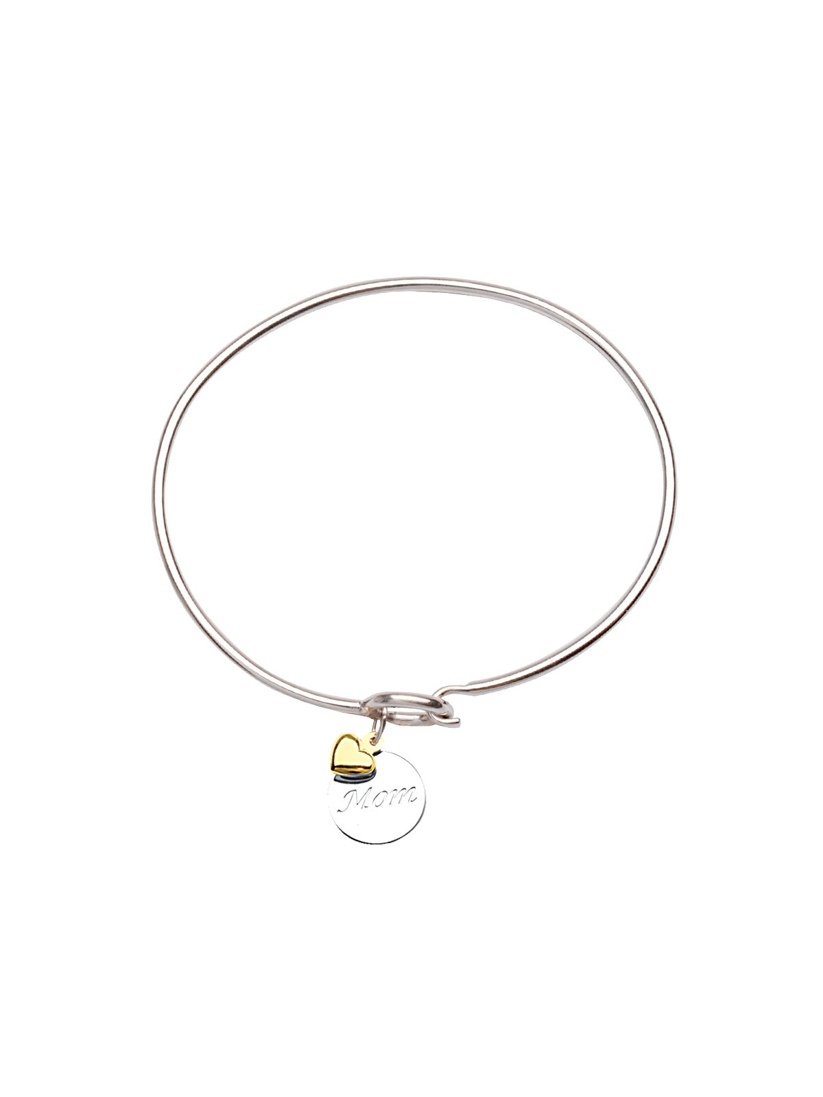 Bangle Bracelet with Engraved Mom Tag and 14k Gold Heart Charm Sterling Silver