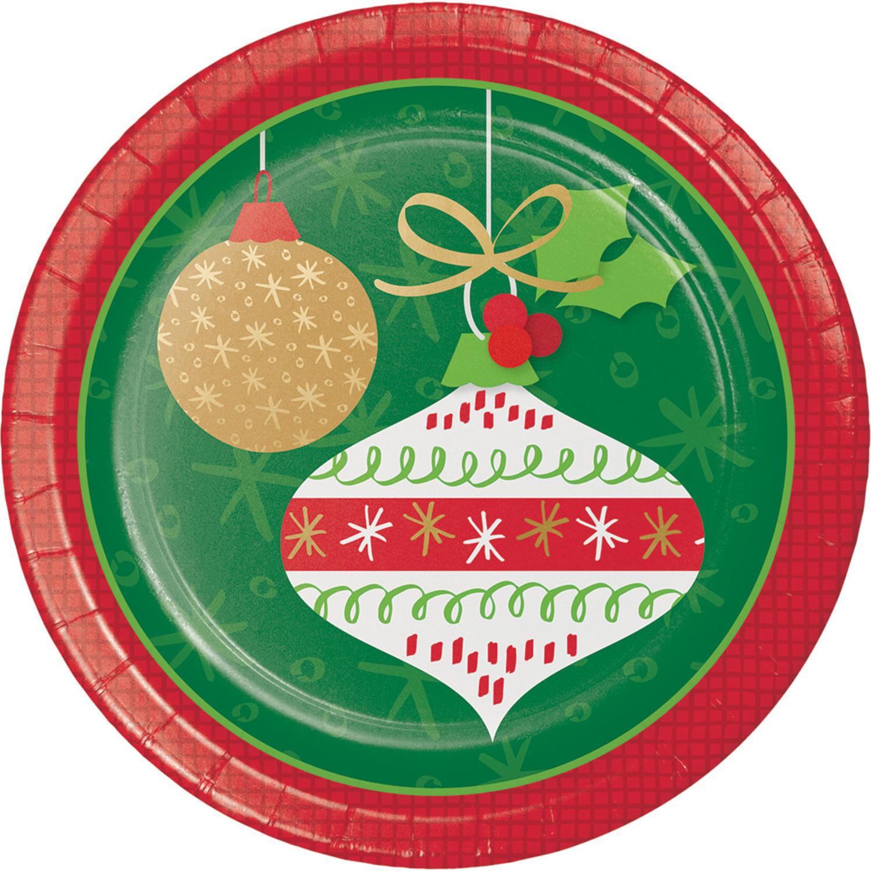 "Glittering Vintage Ornaments 8 Ct Paper 6.75"" Dessert Cake Plates"