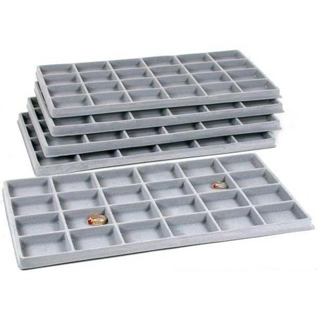 Top Drawer Jewelry Tray (120 Slot Jewelry Coin Gray Showcase Display Tray)