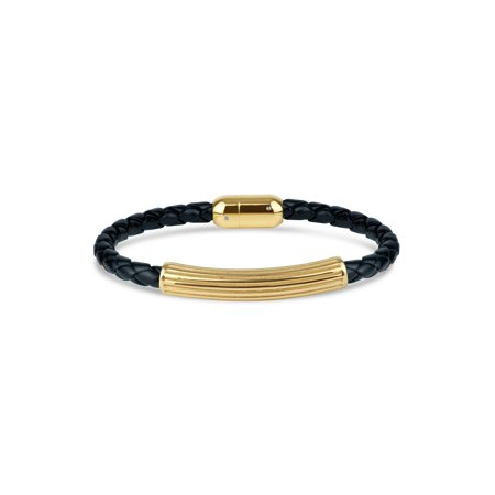 - 316L Stainless Steel Gold IP Textured Center Leather Braided Bracelet, 8.5