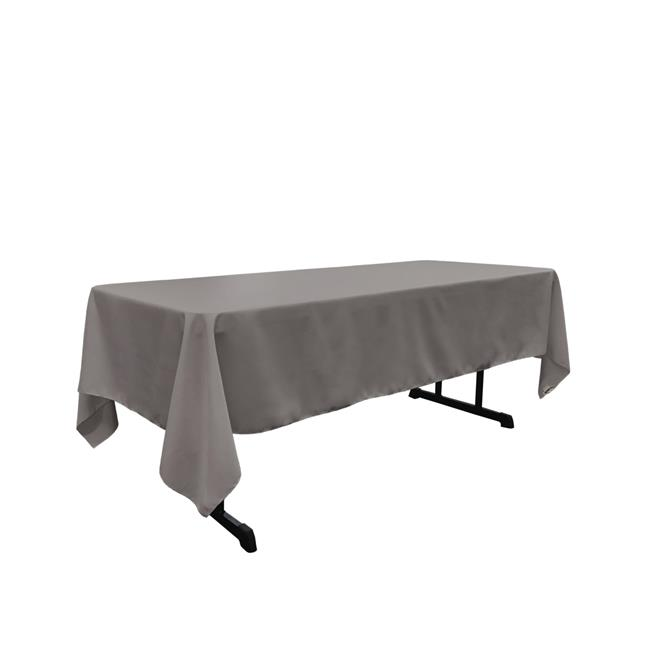 LA Linen TCpop60x126-GrayDrkP12 Polyester Poplin Rectangular Tablecloth, Dark Gray 60 x... by LA Linen