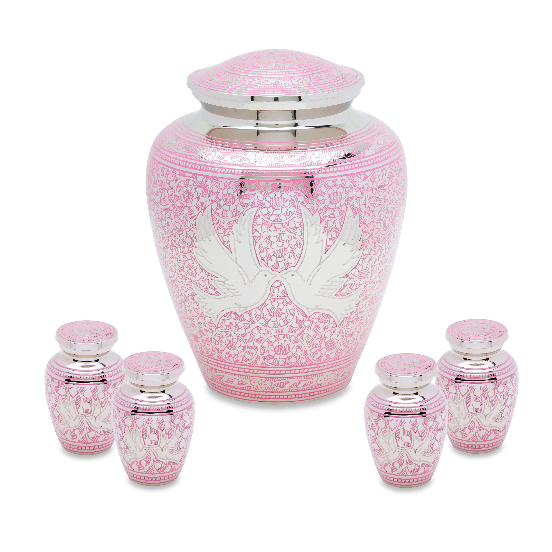 Urnsdirect2U Pink Loving Doves Adult Urn with 4 Tokens