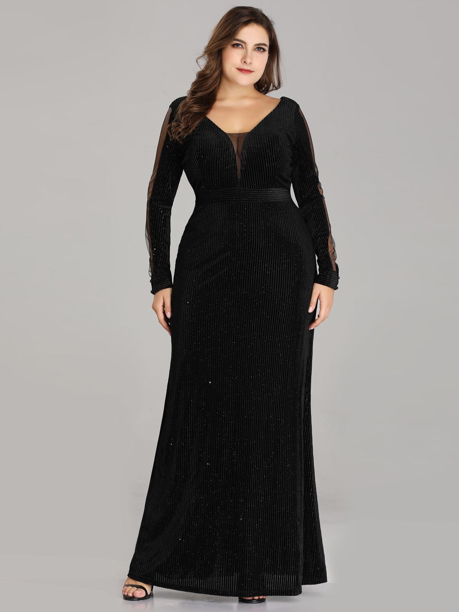 a85484e58 Plus Size Long Sleeve Floor Length Black Dress