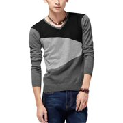 Azzuro Men's Long Sleeve V Neck Knit Fall Shirt Black Dark Light Gray (Size S / 34)