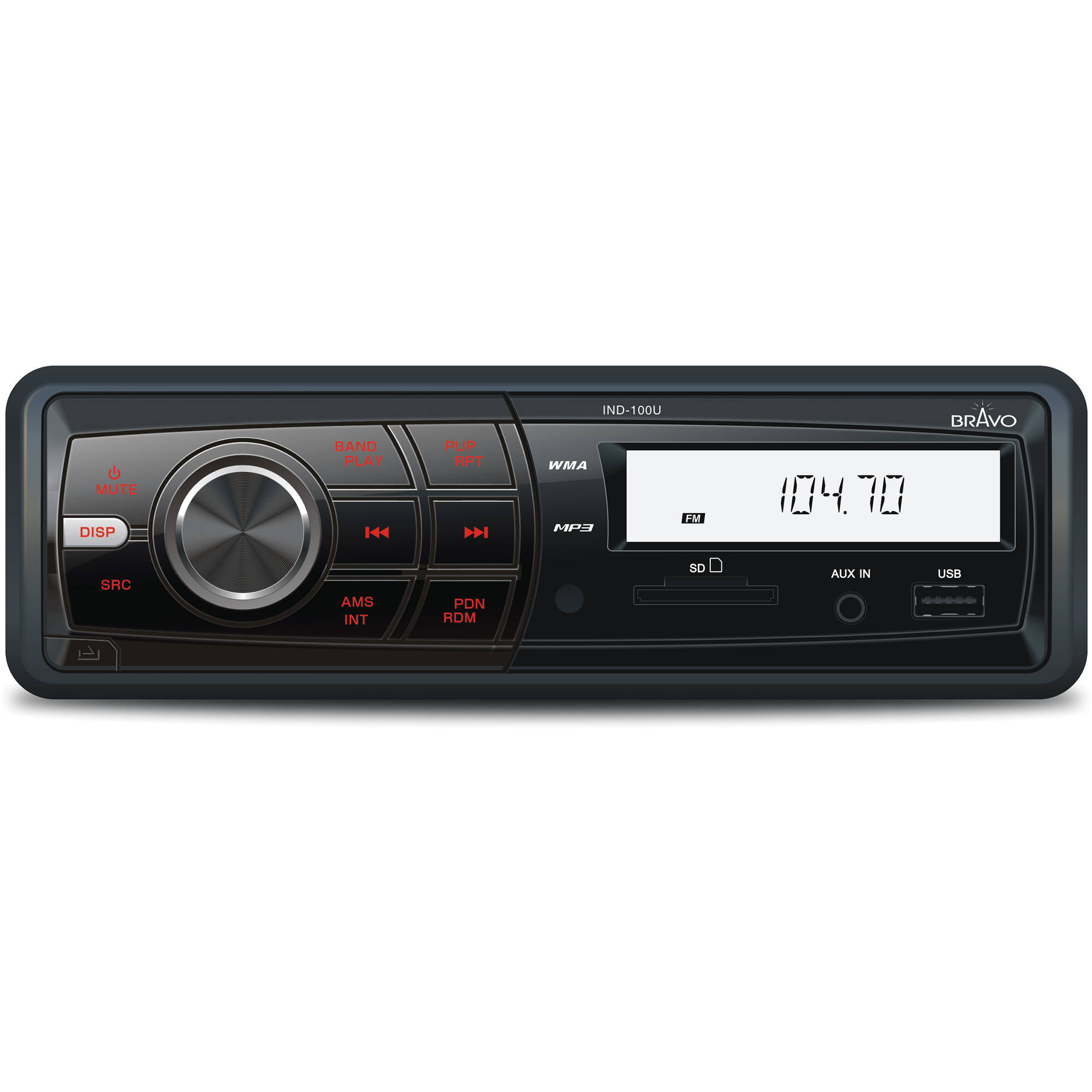 Bravo View IND-100U - In-Dash Digital Media Receiver with USB/AUX-IN (no CD/DVD)