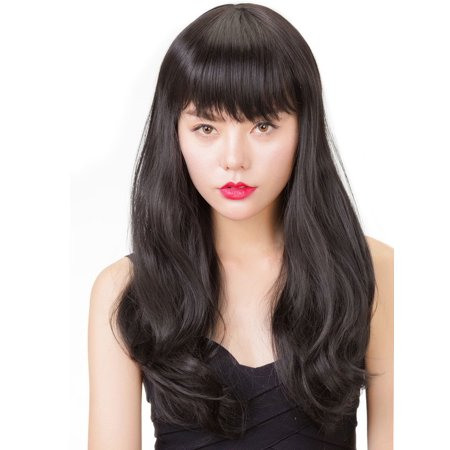 Curly Black Hair Halloween (Rabbitgoo Halloween Long Wig Hair Black Wigs Curly Sexy Wave Lace Front)