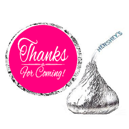 216ct Hot Pink Thanks for Coming Party Favor Hersheys Kisses Candy Decoration Stickers / Labels for $<!---->