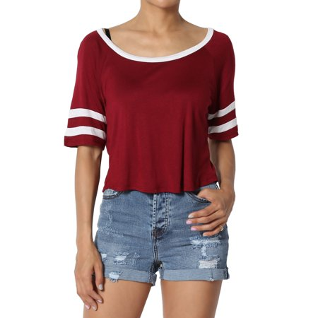 Soft Crop - TheMogan Junior's Oversized Stripe Sleeve Boat Neck Soft Jersey Crop Top Tee