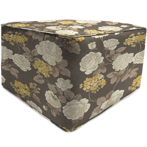 Jordan Manufacturing Square Outdoor Patio Pouf Ottoman, Vivienne Putty