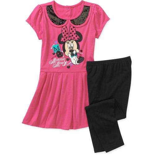 Disney Minnie Mouse Girls' 2 Piece Tunic and Legging Set