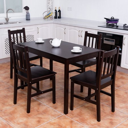 Costway 5PCS Solid Pine Wood Dining Set Table and 4 Chairs Home Kitchen Furniture Brown