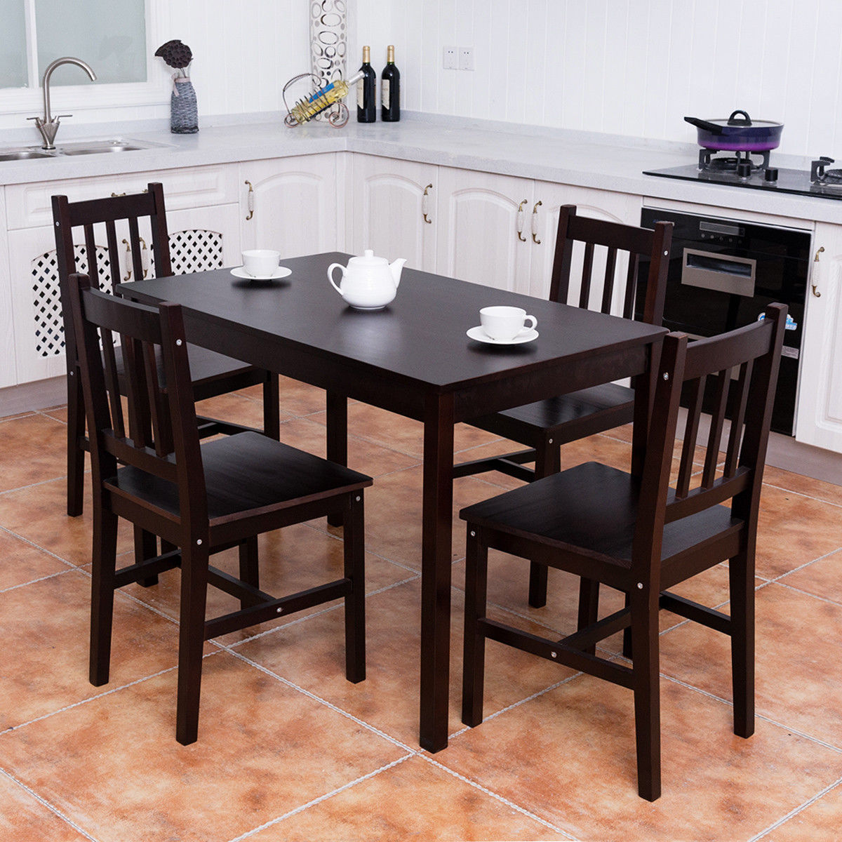 Product Image Costway 5PCS Solid Pine Wood Dining Set Table And 4 Chairs  Home Kitchen Furniture Brown
