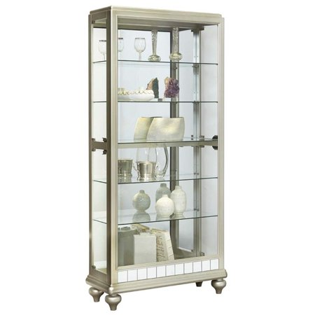 Beaumont Lane Mirrored Metallic Side Entry Curio Cabinet in