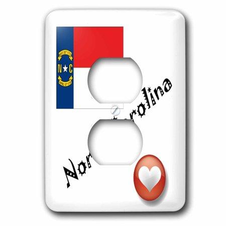 3dRose I Love North Carolina - 2 Plug Outlet Cover (lsp_7201_6) (Outlet North Carolina)