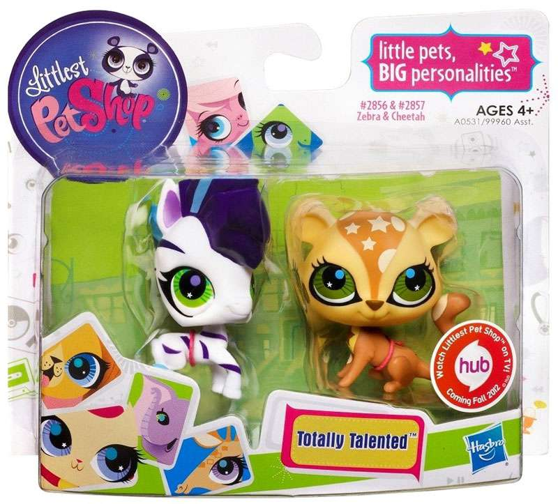 Hasbro Littlest Pet Shop Totally Talented Pets Zebra & Cheetah Figure 2-Pack #2856 & 2857