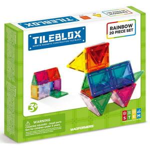 Magformers TILEBLOX Rainbow 20-Piece Magnetic Construction Set