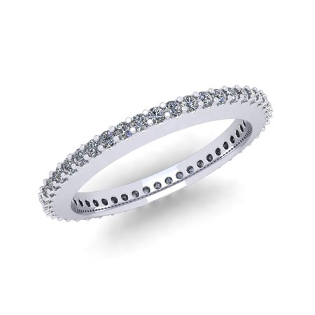 - Natural .45Ct Round Cut Brilliant Diamond Stackable Women's Anniversary Wedding Eternity Band Ring Solid 10k White Gold G-H I1